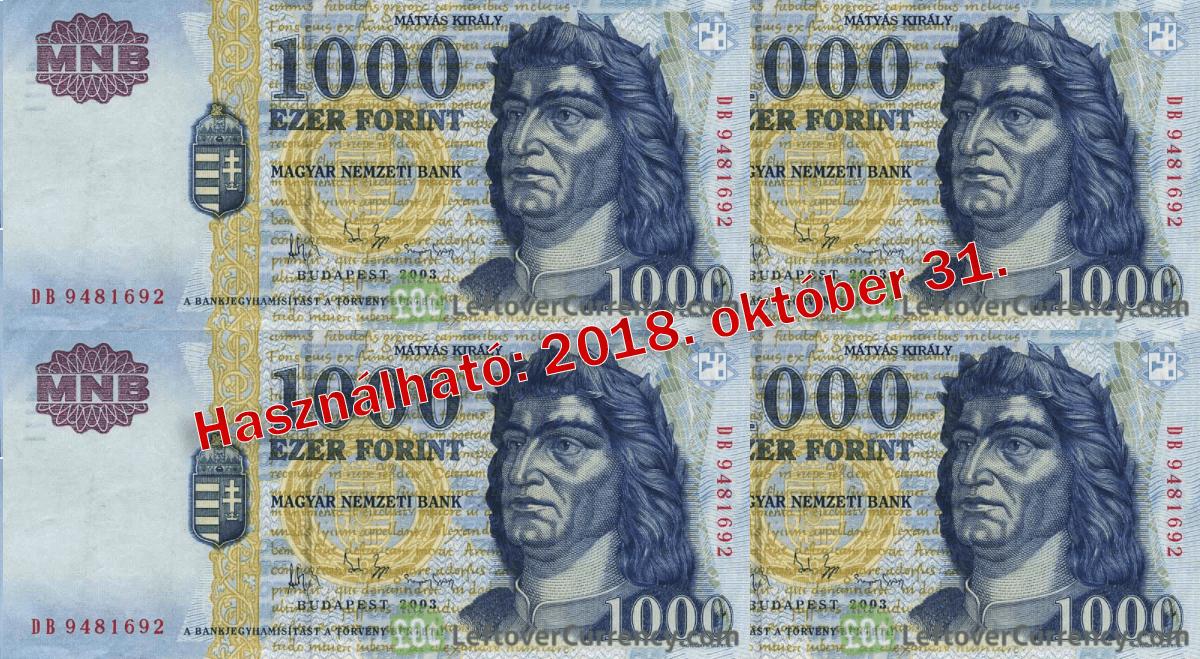 Október végéig fizethetünk a régi 1000 forintos bankjegyekkel